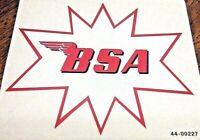 "BSA red on white star 5-1/4 x 4-1/2"" gas tank transfer 1964-5 A65SH C15 B40, pr."