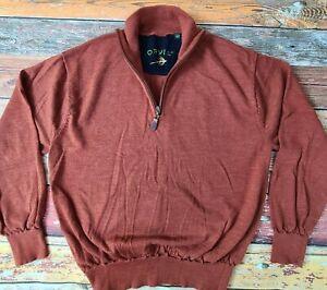 Orvis Men's 1/4 Zip Wool Sweater Jumper Pullover XL Brown