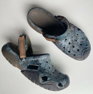 CROCS Men's All Terrain Camouflage Camp Real Tree Strap Clogs Mules Blue Size 12