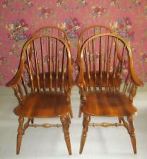 Ethan Allen Circa 1176 MapleBowback Windsor Dining Room Arm Chairs Set Of 4