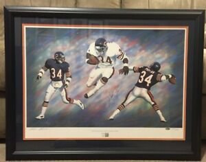 Walter Payton Signed Lithograph Framed Chicago Bears Steiner Sports COA