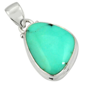 12.22cts Natural Green Campitos Turquoise 925 Sterling Silver Pendant R20710