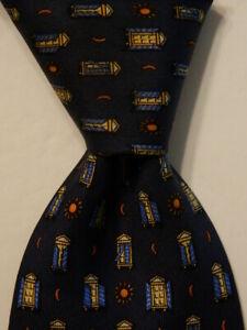 SALVATORE FERRAGAMO Men's Silk XL Necktie ITALY Luxury SUNRISE Blue/Yellow GUC