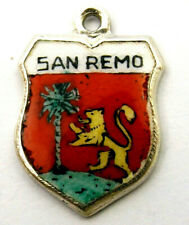SAN REMO vintage silver and enamel travel shield bracelet charm marked 835