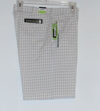 Izod Mens Plaid Sun Control UPF 50 Cool & Dry Golf Shorts White 36 NWT