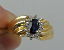 Estate 14K Yellow Gold Dark Blue Center & Clear Stone Cluster Ring Sz 7.25
