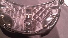 George Buckle Handbag Small Black Textured Ladies/Women's/NEW