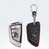 For BMW X1 X5 X3 X6 Car key case holder cover remote fob Red Stitch 4 buttons