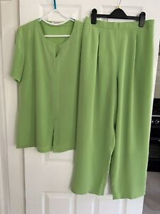Lime Green Trouser Suit By Jacques Vert 12/14