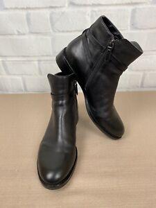ECCO Men's Zip Black Leather Ankle Boots Size 7-7.5  EU 41