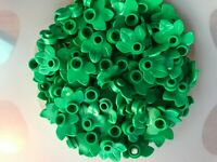 LEGO-#32607-ROUND BRIGHT GREEN PLANT PLATE  1 X 1 W/ 3 LEAVES - NEW-50 PIECES