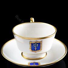 EXCLUSIVE Russian Imperial Lomonosov Porcelain Tea Cup & Saucer Cottage Gold Lfz
