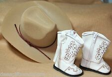 Doll Clothes fitting 18 in American Girl Dolls White Eagle Emb Boots &Tan Hat
