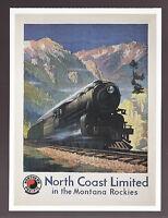 NORTH COAST LIMITED IN THE MONTANA ROCKIES (1925) Train Railroad Ad POSTCARD
