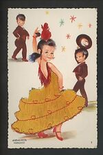 Embroidered clothing postcard Spain, Andalucia girl child dancers #7