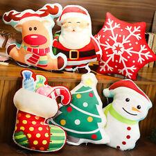 Snowman Elk 3D Pillow Sofa Bedside Doll Back Cushion Christmas Home Decor Gift