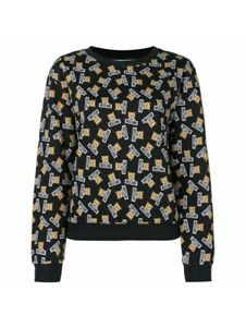 MOSCHINO Underwear Women's Navy Blue Teddy Bear Fleece Sweatshirt Top