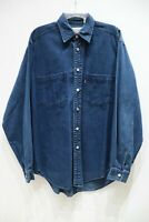 Levis mens M vintage red tab long sleeve denim shirt button up blue Cotton solid