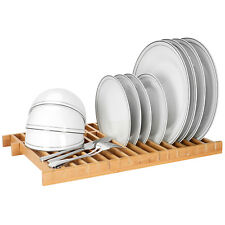 Sortwise Over The Sink Dish Drying Rack Kitchen Dish Drainer 100% Natural Bamboo