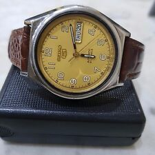 Vintage Seiko 5 Japan Military Style Gold Dial DayDate Automatic watch