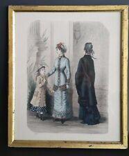 Antique Gold Gilt Gilded Frame & Ladies Fashion Print - La Mode Illustree