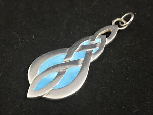 Hallmarked Scottish silver blue enamel Celtic pendant, Eleanor B MacDougall