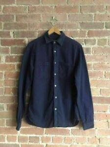 Alex Mill Mens Shirt, Heavy Blue Twill, Size Small
