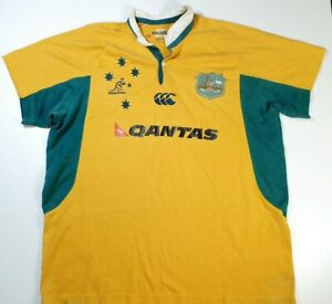 World Cup 2008 Wallabies Australia Mens Yellow Quantas Rugby Jersey Size XL