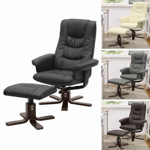 Swivel Armchair Sleeping Chair with Footstool Padded Recliner Office Lounge Sofa