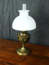 Antique Brass Duplex Oil Lamp Milk Glass Shade - FREE Shipping [PL4782 A]