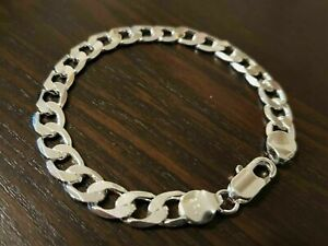 New 925 Classic Sterling Silver Chunky 8mm, 12mm Chain Bracelet Flat Curb
