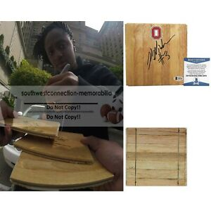Kelsey Mitchell Signed Autograph Ohio State Basketball Floor Board Beckett BAS