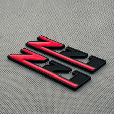 2Pcs Matte Black Metal Z71 Emblem Red Coated Badge 3D Decal for Silverado Tahoe