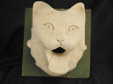 Plaster cat wall hanging hand crafted white art piece feline lover student proje
