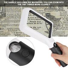 Lupe Vergrößerungsglas Leseglas 2X 20X COB Licht Lesehilfe für Ältere Handlupe