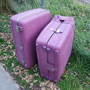 2 Vintage Purple American Tourister Hardside Suitcase Luggage Pink Lining 24/26""