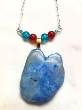 Natural blue Agate  Gemstone Pendant silver chain Necklace