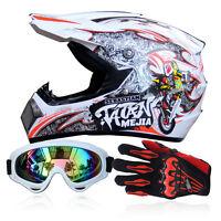 Men's Motorcycle Off-Road ATV Dewclaws Helmets + Goggles + Gloves Dot Dirt Bike