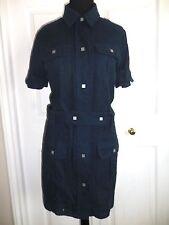 CHANEL Navy Blue Cotton Camellia CC Logo Shirt Dress ~ 46