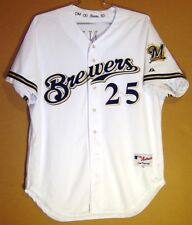 MILWAUKEE BREWERS BRIAN BANKS White #25 TEAM ISSUED MLB Size 50 GAME JERSEY