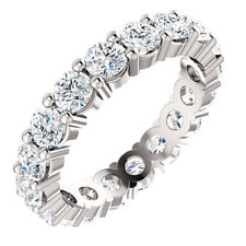 4 Ct Off White Moissanite Engagement Eternity Band 925 Sterling Silver Size 8
