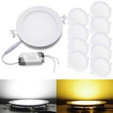 10x Round LED Recessed Ceiling Panel Down Lights Lamp w/Driver 3W 9W 12W 15W 18W