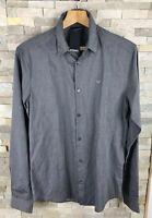 Emporio Armani Mens Size M Slim Fit Grey Striped Long Sleeve Shirt