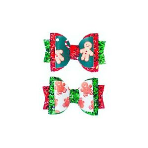 """Dog Hair Bows- 2.5"""" Christmas Holidays Gingerbread Candy Cane Peppermint Glitter"""
