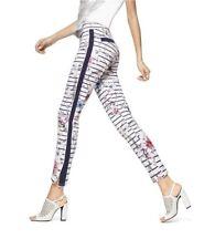 HUE U16651H White Floral Stripe Polished Stretch Twill Skimmer Legging  MSRP $48