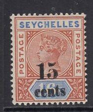 Seychelles 1893 15c on 16c  SG19  Mtd Mint