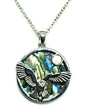 "Owl Necklace Pendant Abalone, Mother of Pearl Shell Womens Jewellery 18"" Gift"