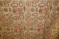 "4 Vtg Mid Century Barkcloth Curtain Panels Pink Brown Sage Pattern 61"" x 43.5"""