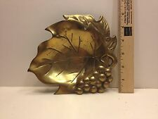 Vintage Brass Leaf and Berry Dish, Heavy, From Estate