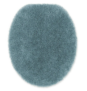 Baby Blue Toilet Lid Cover Elongated Soft Top Non Slip Plush Nylon Washable Bath
